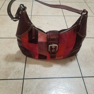 Rare Suede & Leather Patchwork Coach Hobo Purse